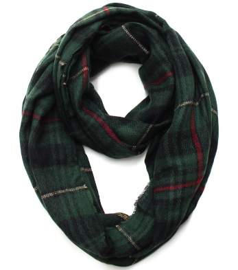 Plaid Infinity Scarf - Green