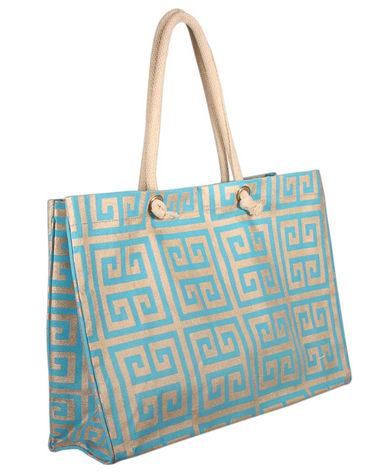 Geo Tote Bag - Gold & Turquoise