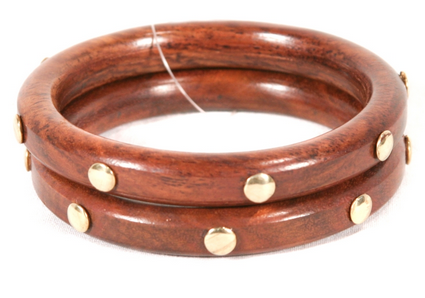 Wooden Stud Bangles - Set of 2