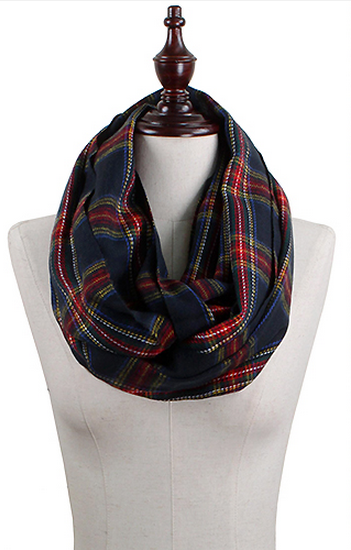 Plaid Infinity Scarf - Navy Starlight