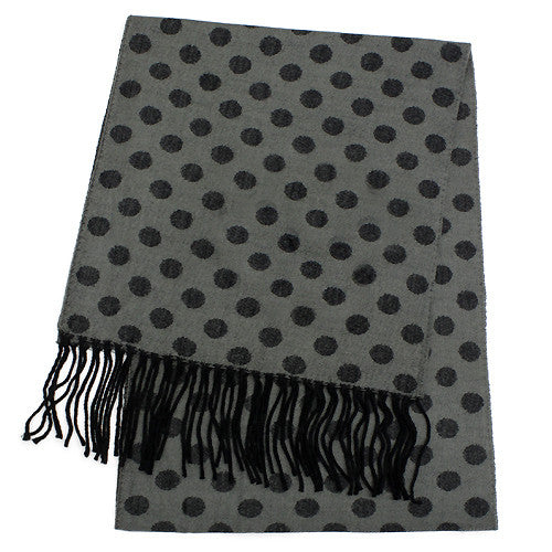 Feels Like Cashmere Scarf  - Black dots on grey