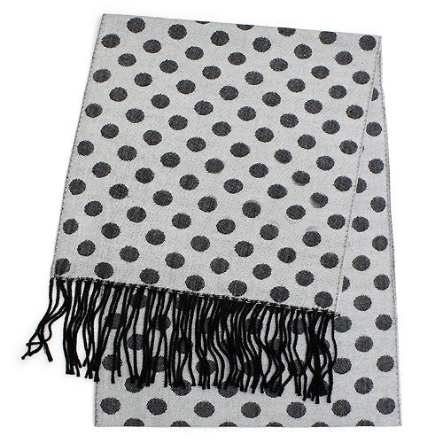 Feels Like Cashmere Scarf  - black dots on light grey