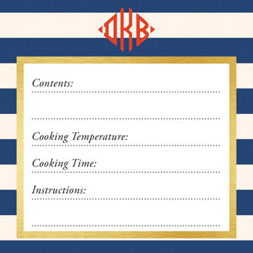 Navy Classic Stripes Vinyl Freezer Labels