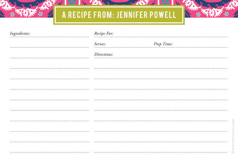 Peony Suzani Double-Sided Recipe Cards