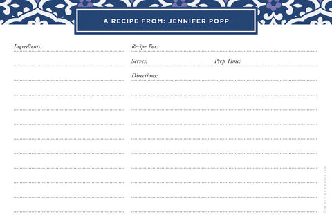Navy Sea Floral Double-Sided Recipe Cards