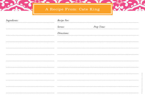 Peony Sea Floral Double-Sided Recipe Cards