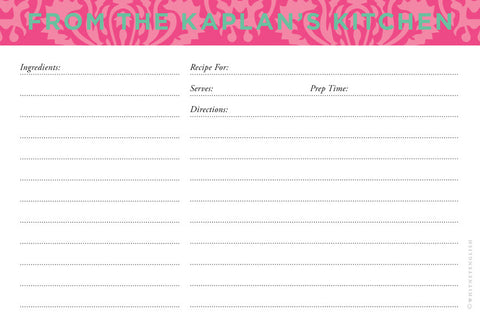 Peony Maddy Double-Sided Recipe Cards