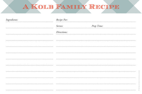 Snow Owl Buffalo Check Double-Sided Recipe Cards