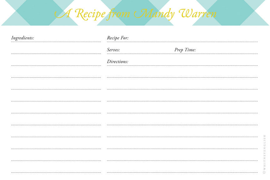 Mint Buffalo Check Double-Sided Recipe Cards