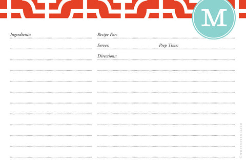 Fire Designer Lattice Double-Sided Recipe Cards