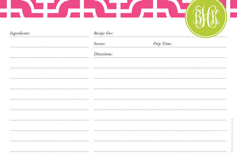 Peony Designer Lattice Double-Sided Recipe Cards