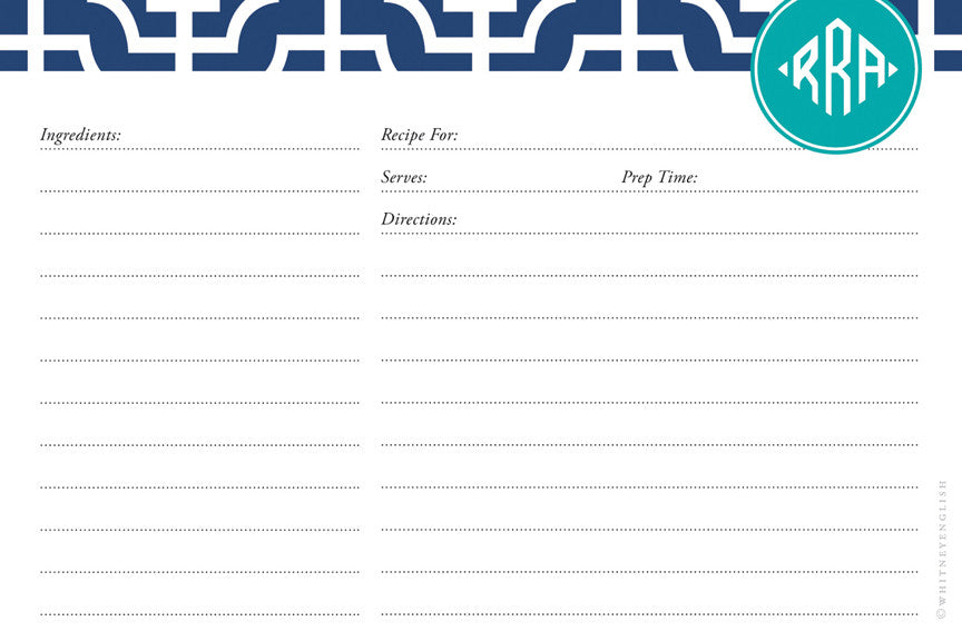 Navy Designer Lattice Double-Sided Recipe Cards