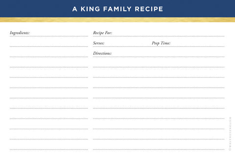 Navy Classic Stripes Double-Sided Recipe Cards