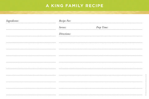Lime Classic Stripes Double-Sided Recipe Cards