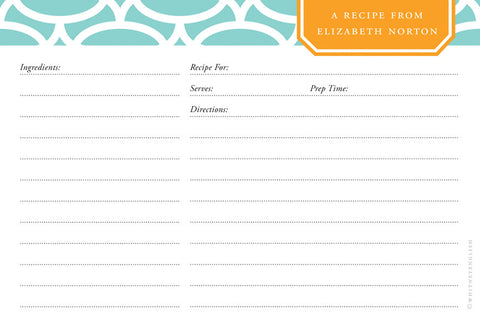 Mint Fretwork Double-Sided Recipe Cards