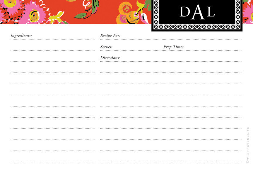 Fire Chinoiserie Double-Sided Recipe Cards