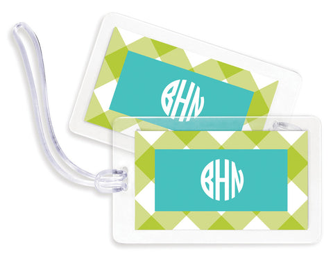 Check Lime Bag Tags - set of 4