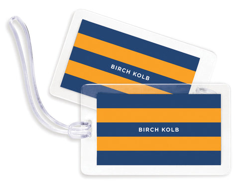 Rugby Navy & Orange Bag Tags - Set of 4