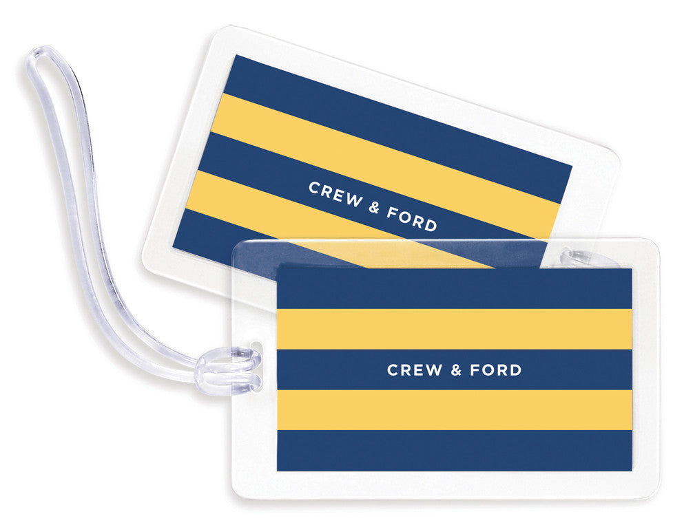 Rugby Navy & Yellow Bag Tags - Set of 4