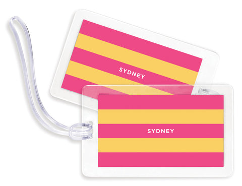 Rugby Pink & Yellow Bag Tags - Set of 4