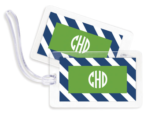 Diagonal Navy & Green Bag Tags - set of 4