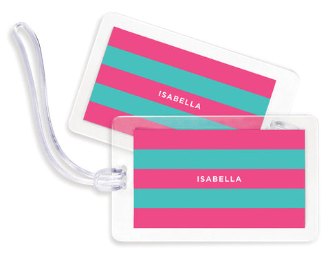 Rugby Pink & Teal Bag Tags - Set of 4