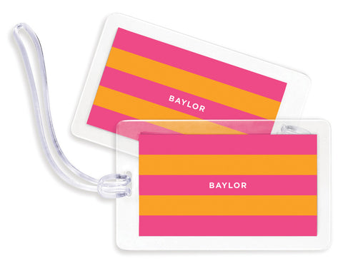 Rugby Pink & Orange Bag Tags - Set of 4
