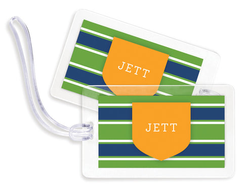 University Stripe Green Bag Tags - Set of 4