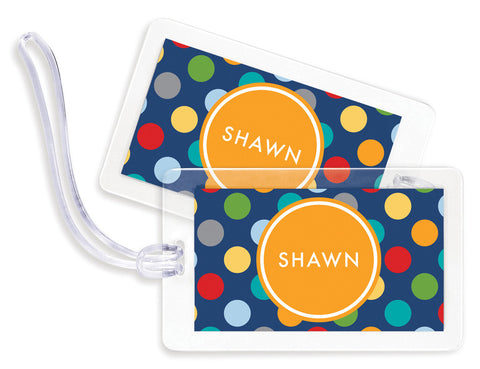 Circus Dots Blue Bag Tags - Set of 4
