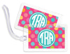 Circus Dots Pink Bag Tags - Set of 4