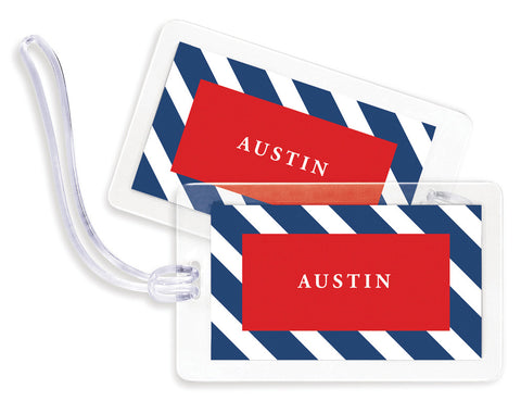 Diagonal Navy & Red Bag Tags - set of 4