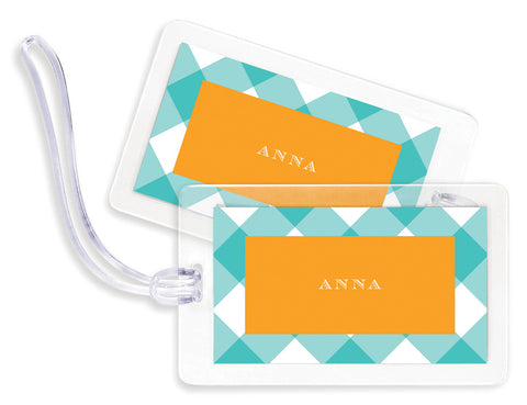 Check Teal Bag Tags - set of 4