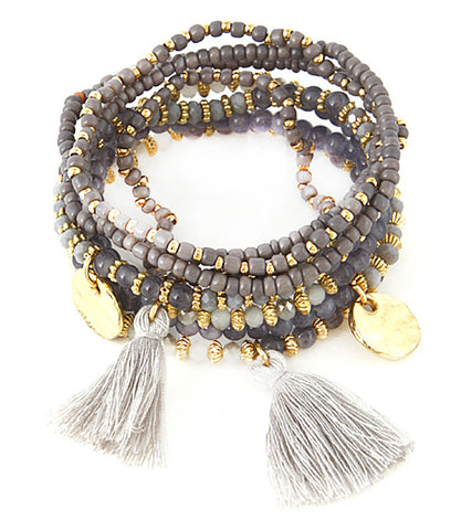 Molly Stretch Tassel Bracelets - Gray