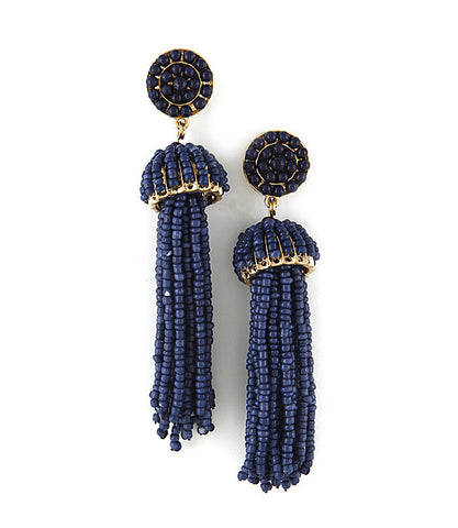 Beaded Fringe Tassel Earrings - Navy