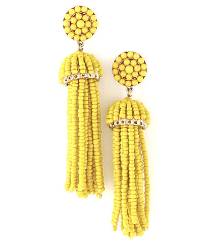 Beaded Fringe Tassel Earrings - Yellow