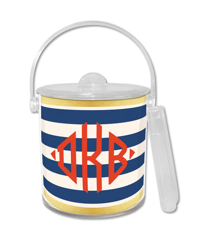 Navy Classic Stripe Ice Bucket