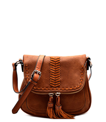 Baker Crossbody Tassel Purse - Brown