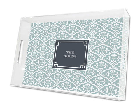 Snow Owl Sea Floral Personalized Lucite Tray - Square, Small or Large {+ insert refill options}