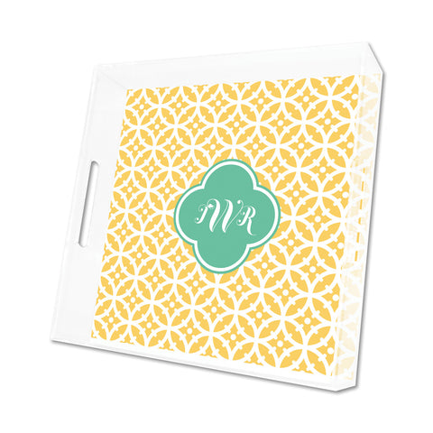 Lemon Bloom Personalized Lucite Tray - Square, Small or Large {+ insert refill options}