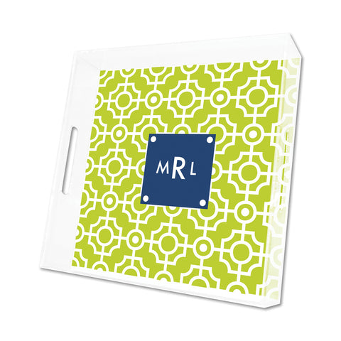 Lime Lattice Personalized Lucite Tray - Square, Small or Large {+ insert refill options}