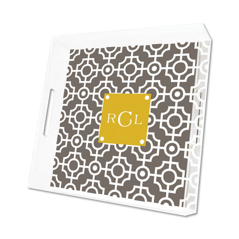Smoke Lattice Personalized Lucite Tray - Square, Small or Large {+ insert refill options}