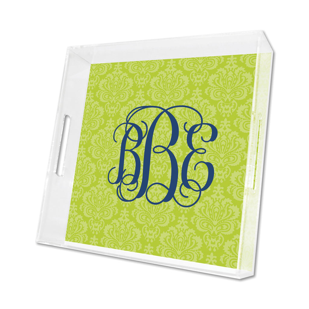 Lime Maddy Personalized Lucite Tray - Square, Small or Large {+ insert refill options}
