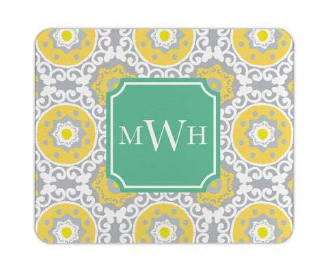 Lemon Modern Suzani Personalized Mouse Pad
