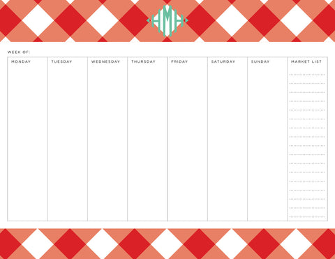 Red Buffalo Check Personalized Meal Planner Pad