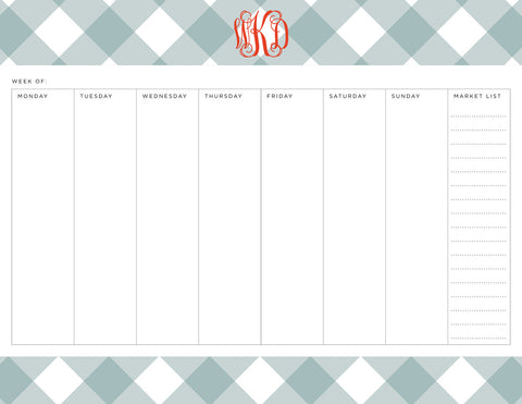Snow Angel Buffalo Check Personalized Meal Planner Pad