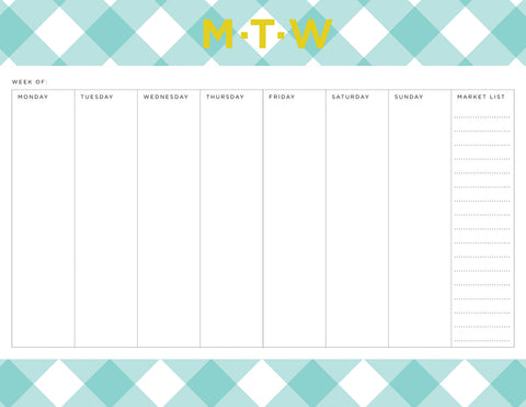 Mint Buffalo Check Personalized Meal Planner Pad