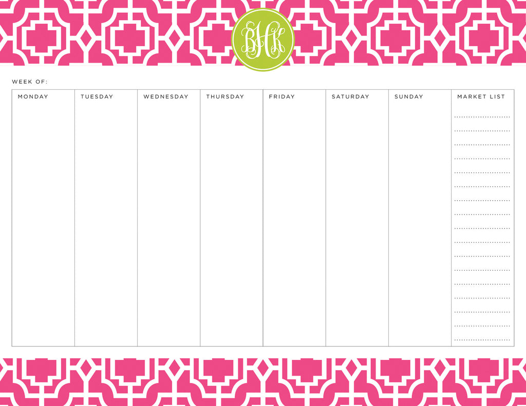 Peony Designer Lattice Personalized Meal Planner Pad