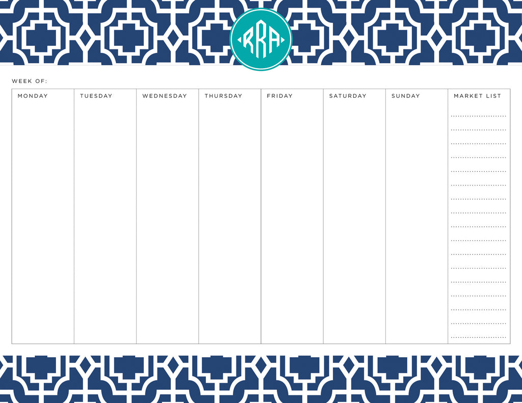 Navy Designer Lattice Personalized Meal Planner Pad