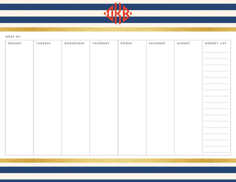 Navy Classic Stripes Personalized Meal Planner Pad