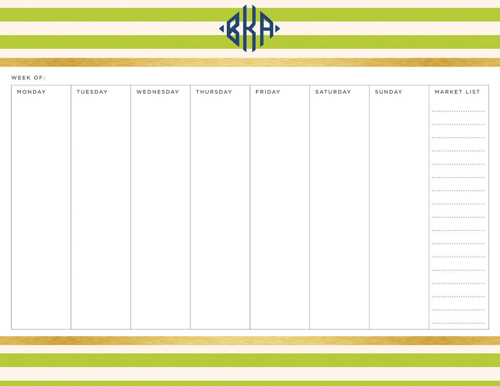 Lime Classic Stripes Personalized Meal Planner Pad